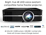 Optoma UHD51ALV True 4K UHD Smart Projector with HDR | Super Bright 3,000 Lumens | HDR10 | Works with Alexa and Google Assistant | Voice Command to Activate Projector and USB Media Features
