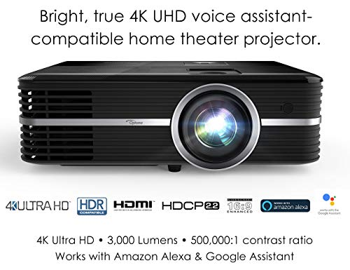 Optoma UHD51A True 4K UHD Smart Projector with HDR | Super Bright 3,000 Lumens | HDR10 | Works with Alexa and Google Assistant | Voice Command to Activate Projector and USB Media Features | Easy Setup (Projector Dlp 4k)