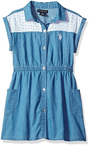 Eyelet Button Front - U.S. Polo Assn. Girls' Toddler Casual Dress, Eyelet Yoke Button Front Blue wash, 3T