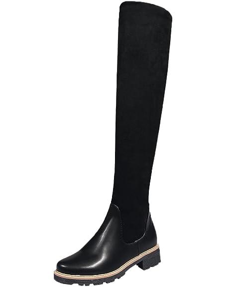 5eb473619 BIGTREE Rodilla Botas Altas Mujer Otoño Invierno Casual Elástico Planas  Cómodo Sintética Ante Cálidas Botas largas De Negro 43 EU  Amazon.es   Zapatos y ...