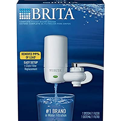 Brita Tap Water Filter System, Water Faucet Filtration System with Filter Change Reminder, Reduces Lead, BPA Free, Fits Standard Faucets Only