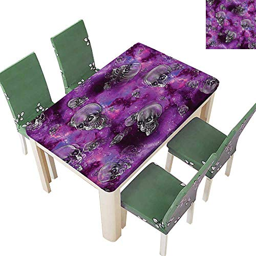 Printsonne Spring & Summer Outdoor Tablecloth, Horror Movie Themed Flying Skull Heads Halloween in Outer Space Image Black and Multicolor 54 x 120 Inch (Elastic Edge) -