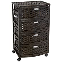 Oriental Furniture Best Price Contemporary Modern Sustainable Design, 29-Inch 4 Drawer Woven Plant Fiber Rattan Style Tall Nightstand Chest, Black