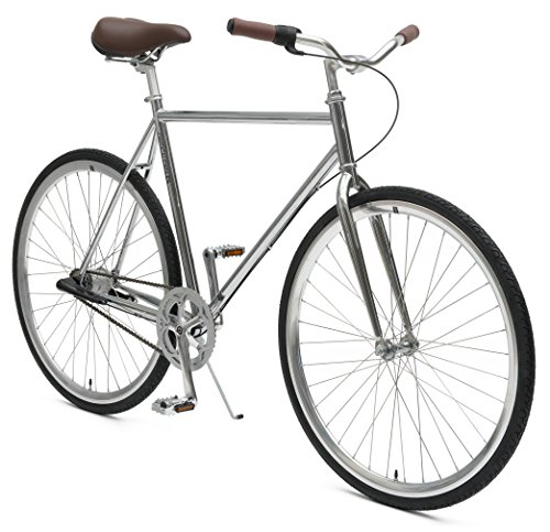 Critical Cycles Diamond 3-Speed City Coaster Commuter Bicycle, Chrome, 57cm/Large