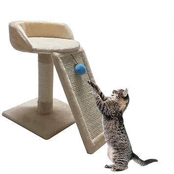 QNMM Gato para Mascotas Gato Trepador Árbol De Gato con Escaleras Arrastre De Cuerda De Sisal Envuelto Árbol De Actividad De Gato con Postes De Rasguño: ...