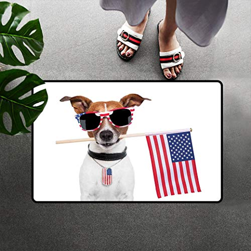Dog Lover Decor Low Profile Doormat Chair Mat, American Dog with USA Flag and Shades Sunglasses Anniversary Independence Liberty Soft Floor Mat Sofa Mat with Non Slip Back, 16