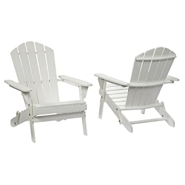 2-Pack Outdoor Folding Adirondack Chair, Hampton Bay, Adirondack Chair, Patio Chair, Wood Outdoor Furniture, Outdoor Chair, Patio Folding Chair (Choose Your Color) (White)