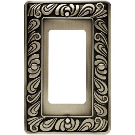 Single-Decorator / GFCI Wall Plate, Brushed Satin Pewter Brainerd Paisley Brainerd Paisley Single