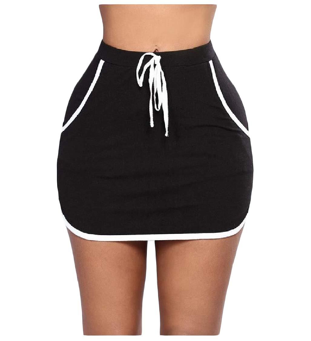 pipigo Women's Drawstring Elastic Waist Mini Stripe Skirts Black XXS