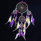 Indian Multicolor Feathers Dream Catcher 5 Rings Hand-Woven Iron Dream Catcher Wall Hanging Decorations Ornament Gift Purple