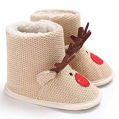 Toddler Baby Boy Girl Cute Christmas Slipper Winter Knit Snow Reindeer Boots Warm Fur Shoes Prewalker