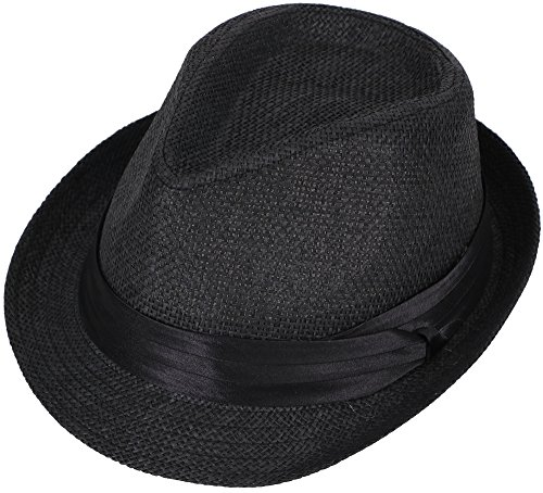 Apollo Men & Women's Beach Straw Fedora Hat Panama Trilby Derby Hat, Black (Black Panama Straw Hat)