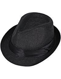 27f0796cafd Unisex Summer Cool Woven Straw Fedora Hat   Stylish Hat Band