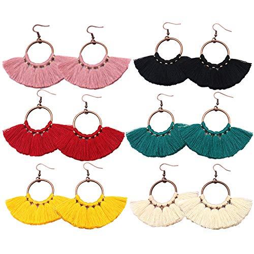 - 6 Pairs Tassel Earrings Hypoallergenic Big Hoop Dangle Fringe Boho Colorful Piercing Chandelier Statement Earring Sets for Women