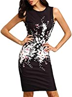 LOVELYIVA Women Flower Vintage Print Elegant Pencil Dress Sleeveless Dress