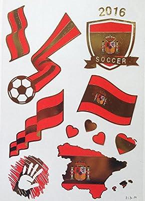 Nikgic Mini Pack De Pegatinas Tatuaje Bandera Española, de País de España, Español, Copa Mundial de: Amazon.es: Hogar