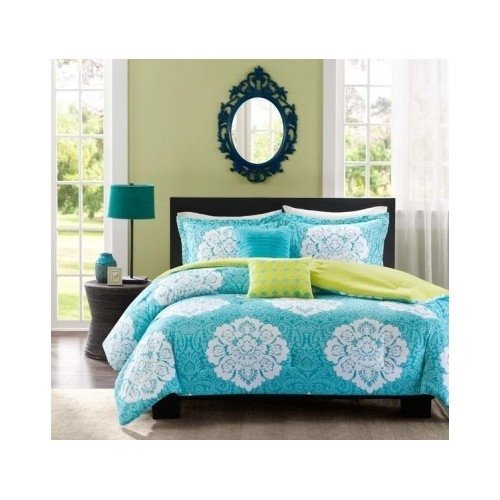 Aqua Blue Lime Green Floral Damask Print Comforter Bedding Set