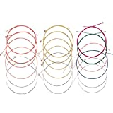 #6: Bememo 3 Sets of 6 Acoustic Guitar Strings Replacement Steel String for Guitar, 1 Set Yellow 1 Set Red and 1 Set Multicolor