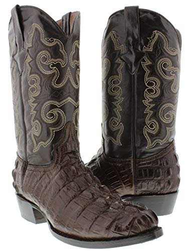 - Team West - Men's Brown Crocodile Design Leather Cowboy Boots Round Toe 12 E US