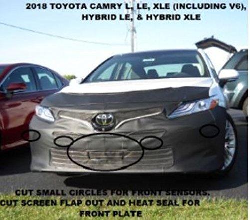 Lebra 2 Piece Front End Cover Black - Car Mask Bra - Fits - Toyota Camry L, LE, XLE & Hybrid LE & XLE 2018 18