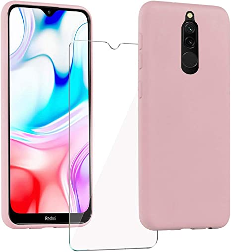 XinYue - Funda para Xiaomi Redmi 8 + Protector Pantalla, Carcasa de Silicona Líquida Gel Ultra Suave Funda con tapete de Microfibra Anti-Rasguño: Amazon.es: Electrónica