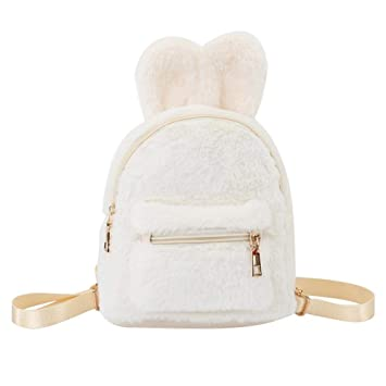 0f5afa8b54 Image Unavailable. Image not available for. Color  AFfeco Kids Girls Faux  Fur Mini Rabbit Ears Backpacks ...