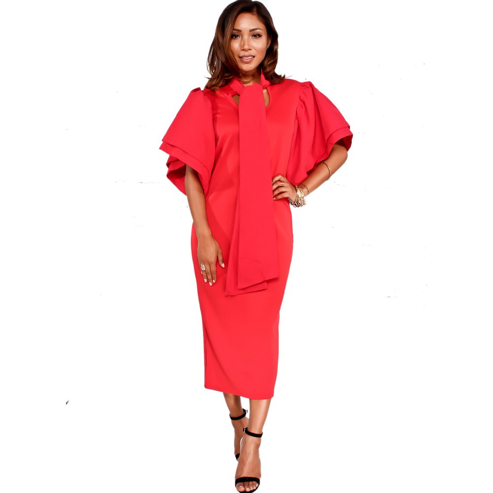 Bodycon4U Women's Sexy Cape Sleeve Bowknot Ruffle Sleeve Bodycon Party Club Dress Red 2XL