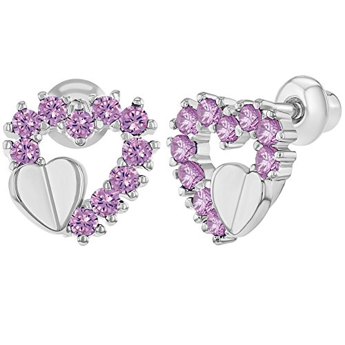 Rhodium Plated Pink Open Heart CZ Baby Girl Earrings Screw Back (Plated Pink Heart)