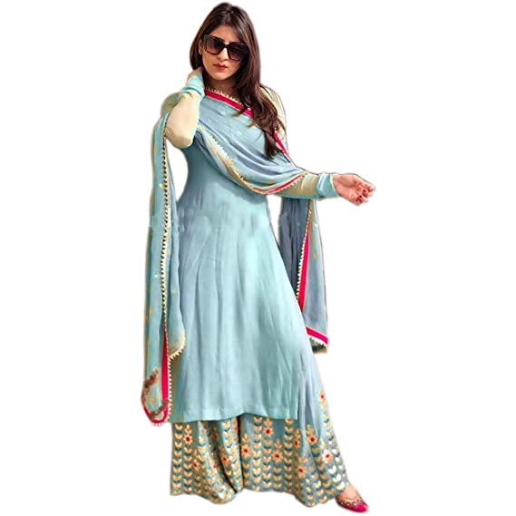 6ab0732da0 Ethnic Empire Women's Georgette Fully Embroidered Stitched Palazzo Suit  (Sky Blue, Free Size)
