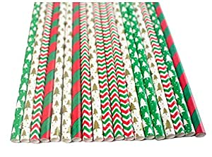 7.75 Inches Red and Green Pack of 100 Christmas Drinking Straw - Biodegradable Paper Straws Party Supplies for Home & Xmas