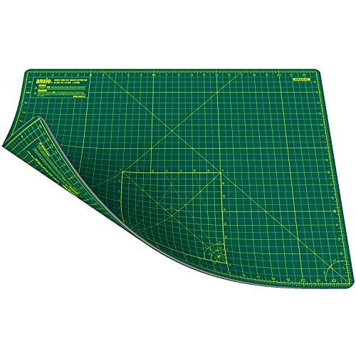 ANSIO-Craft-Cutting-Mat-Self-Healing-A2-Double-Sided-5-Layers-Quilting-Sewing-Scrapbooking-Fabric-Papercraft-ImperialMetric-225-Inch-x-17-Inch-59cm-x-44cm-GreenGreen