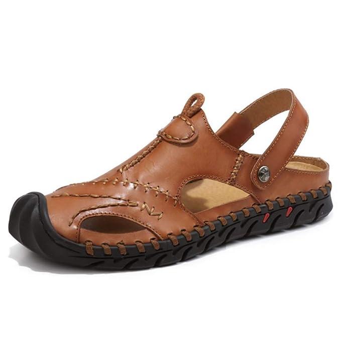 Hombres Baotou Cuero Sandalias Cerrado Dedo Del Pie Confortable Calzado Playa Verano Al Aire Libre Zapatos: Amazon.es: Ropa y accesorios