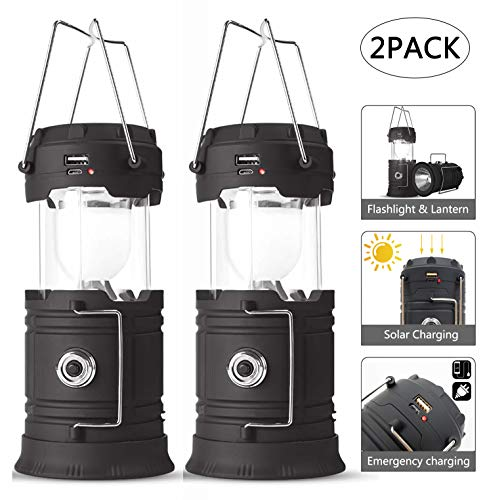 SUNNYNESS Rechargeable Camping Lantern and Flashlight,Battery Powered Led Camping Lantern and Light,Camping Lights Solar Powered Black 2,for Hiking,Champing,Emergency (Black)