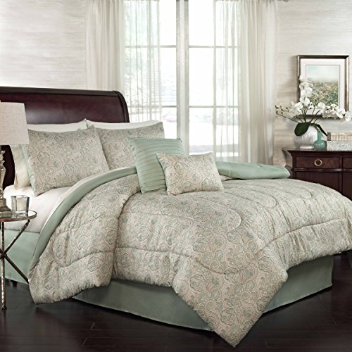 Traditions by Waverly Paddock Shawl 6 Piece Comforter Collection, Queen (Green And Cream Bedding Set)