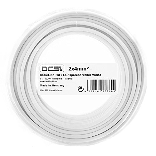 2 x 4mm/² White Speaker Cable German Made OFC Copper Speaker Wire for HiFi or Car Audio DCSk 99.99/% Insulated Speaker Cable 50m AWG 12 Role