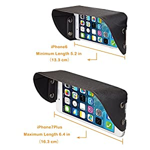 TFY Universal Phone Sun Shade & Glare Visor Shield for 4.5 Inch to 5.5 Inch Smartphones - iPhone X / 8 / 8 Plus / 6 / 6S / 7 Plus - Samsung Galaxy S6 / S6 edge / S7