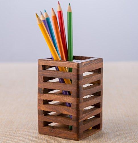 Wooden Pen Stand, Pencil Holder, Pen Holder for Office Desk, Wooden Desk Organizers