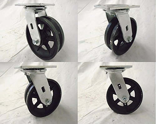 "6"" X 2"" Swivel Caster 7/8"" V-groove Iron Steel Wheel  1000 L"