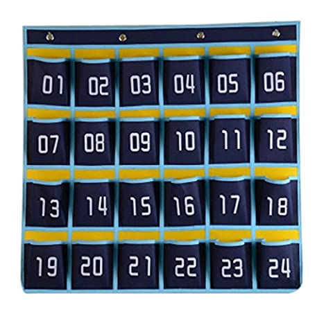 Chris.W 24 Pockets Numbered Classroom Closet Pocket Chart for Cell Phones/Keys, Over the Door Wall Sundries Holder Organizer with 4 Hanging Hooks, Blue
