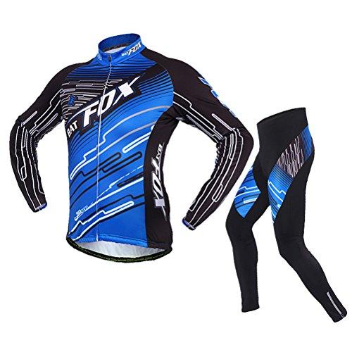 Hebike – Forro polar para hombre, jersey para bicicleta, parte de arriba térmica para el invierno, ciclismo y pantalones estrechos de ciclismo a juego