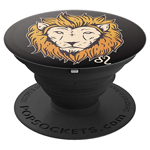 Leo Zodiac Sign Horoscope Astrological Astrology Gift Black - PopSockets Grip and Stand for Phones and Tablets