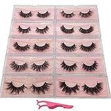 Labeh False Eyelashes 3D Mink Fur Eyelashes Reusable Handmade Natural Lashes Fake Eyelashes Easy to Apply(10 type/package)
