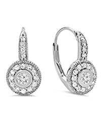0.40 Carat (ctw) 14K Gold Round Cut Diamond Ladies Cluster Halo Style Drop Earrings