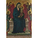 high quality polyster Canvas ,the Reproductions Art Decorative Canvas Prints of oil painting 'Follower of Duccio The Virgin and Child with Four Angels ', 12 x 18 inch / 30 x 45 cm is best for gift for girl friend and boy friend and Home decoration and Gifts