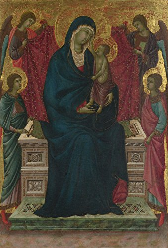 Oil Painting 'Follower Of Duccio The Virgin And Child With Four Angels' 12 x 18 inch / 30 x 45 cm , on High Definition HD canvas prints is for Gifts And Hallway, Laundry Room And Powder Room decor