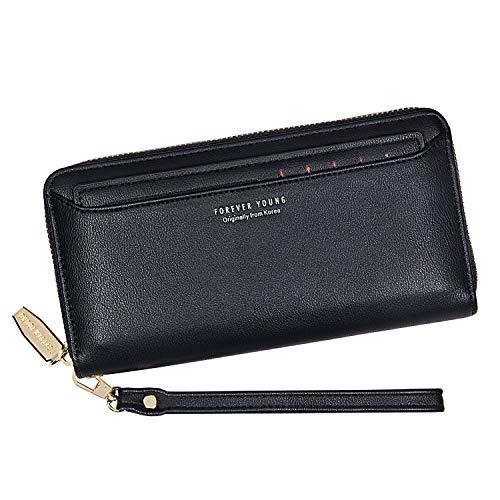 IBFUN Women Wallets PU Leather Zipper Bifold Ladies Cluth Wristlet Wrist Strap Long Purse