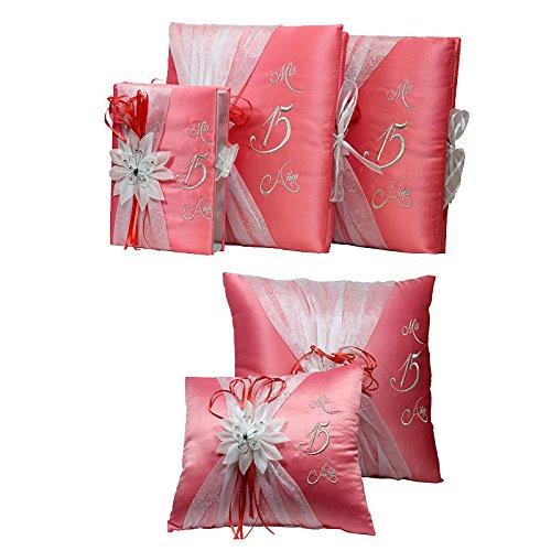 5 pc Quinceanera Set Mis Quince Set Pillows Guest Book Photo Album Bible Coral (Quinceanera Set)