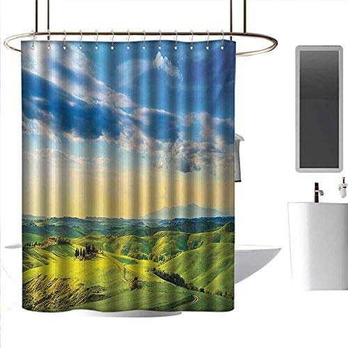 Shower Curtains for Bathroom 84 inch Long Tuscany,Sunset in Tuscany Rural Farmand Cypresses Trees Sunlight Volterra Italy,Sky Blue Pale Green,W72 x L96,Shower Curtain for clawfoot tub