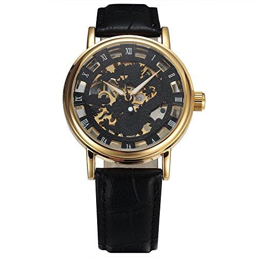 SEWOR Leather Band Mechanical Wrist Watch - 5