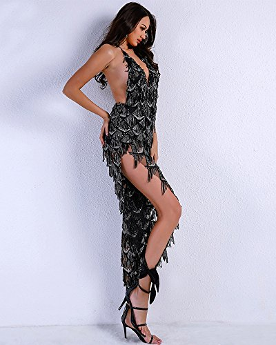 Missord Miss ord 2018 Women Sexy Spaghetti Strap Deep V Sequin Rompers Elegant Backless Split Halter Jumpsuit X-Small: Amazon.co.uk: Clothing